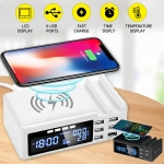 Qi Wireless Phone Charger QC3.0 Smart LCD Clock 48W 5 Ports 2.1A Adapter in offerta a €20.52 || Banggood